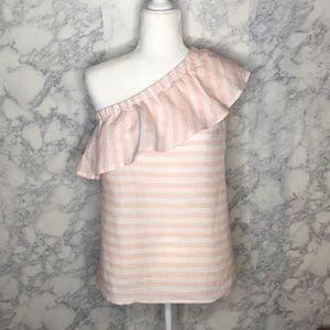 Vince Camuto One Shoulder Pink/White Stripe Blouse